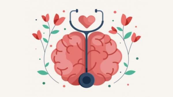 Graphic van hersenen omringt door bloemen op een lichte achterfgrond, een stethoscoop en een hartje