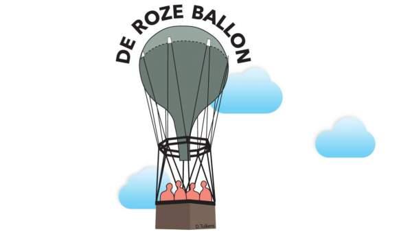 Het logo van de Roze Ballon, een grijze luchtballon met vier roze silhouetten in het bruine mandje, op een witte achtergrond met drie blauwe wolkjes erachter