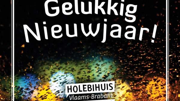 Een donkere foto met enkele wazige lichten op de achtergrond, meet daarop een wit kader, het logo van het Holebihuis en de woorden 'Gelukkig Nieuwjaar!'