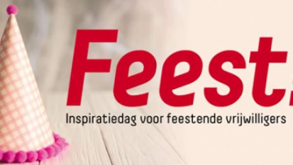 Een affiche met twee feesthoedjes op een tafel, met de woorden 'Feest! Inspiratiedag voor feestende vrijwilligers' en rechts onderaan het logo van Vlaams-Brabant