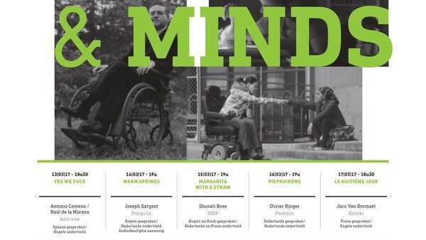 Een poster van het 7de Disability Filmfestival, een witte achtergrond met zwarte en groene letters. De titel van het festival 'Bodies & Minds' staat in grote groene letters over vijf overlappende zwart-wit foto's van mensen met een beperking.